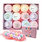 L'aise vie Bath Bombs Gift Set, Pack of 12 Family Spa Vegan Lush Fizzies with Natural Essential Oils Organic Shea & Cocoa Butter, Clean and Brighten skin Moisturize Dry Skin