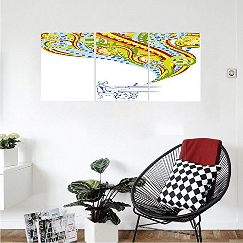Liguo88 Custom canvas Abstract Pianist Performing Swirls Colorful Music Coming out of Piano Instrument Hand Drawn Wall Hanging for Bedroom Living Room Multicolor (Tv Finish Gloss Piano Stand)
