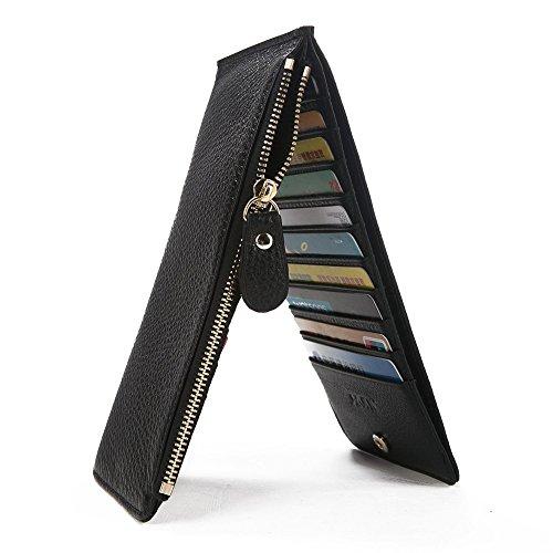 S-ZONE Women RFID Blocking Genuine Leather Multi Card Holder Organizer Wallet