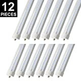 CNSUNWAY LIGHTING 8ft LED Tube, 96'' 45Watt T8 FA8 Single Pin LED Bulbs With Clean Cover, 4800LM Super Bright 6000K Cool White … (12-Pack)