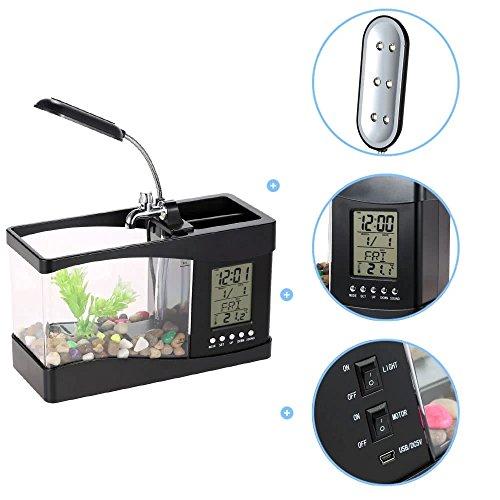 Half Moon Aquarium Kit - Home Aquarium Small USB Fish Tank,Aquarium Kit with LED Lighting,LCD Display Screen and Calendar Clock Fish Tank - Black