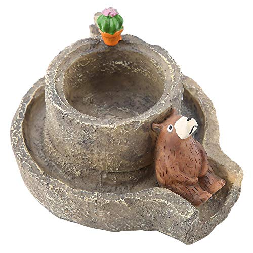 ZJchao Resin Ashtray, Creative Handcraft Vintage Stone Mill Cute Bear Modelling Resin Ashtray Home Office Decoration for Cigarettes