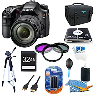 Sony Alpha A77 SLT-A77VQ A77VQ SLTA77 SLTA77VQ 24.3 MP Translucent Mirror Digital SLR With 16-50mm F2.8 lens ULTIMATE BUNDLE with High Speed 32GB Card, Full Size Tripod, 3 pc Deluxe Filter Kit, High Capacity Spare Battery, Padded Case+ More!