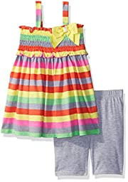 Youngland Toddler Girls\' Rainbow Striped Tunic and Knit Short Legging, Grey/Multi, 4T