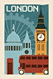 London - Woodblock (9x12 Art Print, Wall Decor Travel Poster)
