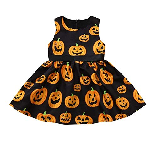 INHoney Baby Girl Halloween Pumpkin Dress, Halloween Costume, Sleeveless, Black (12-18 M, Black)]()
