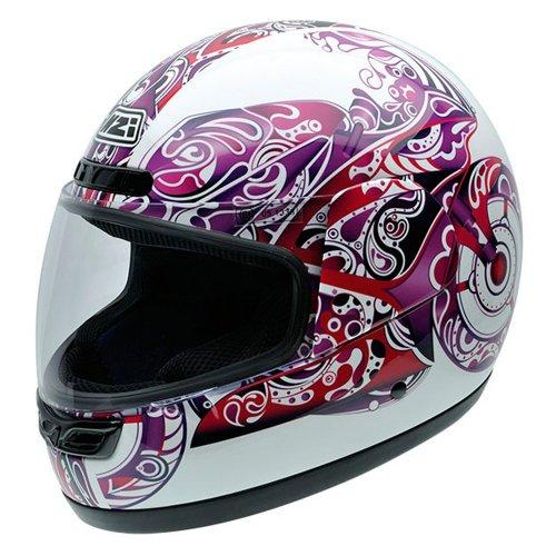 Amazon.es: NZI 050003G584 Activy Psychomoto Elle, Casco de Moto, Fondo Blanco con Ilustración de Moto en Tonos Violeta, Talla S