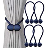 DEZENE Magnetic Curtain Tiebacks,The Most Convenient Drape Tie Backs,Decorative Rope Holdback Holder for Big,Wide or Thick Window Drapries,4 Pack(16 Inch Long),Navy Blue