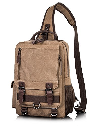 (Canvas Messenger Bag for Men Laptop Sling Backpack Cross Body Shoulder Travel Rucksack Coffee vintage)