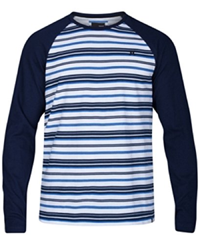Hurley Mens Stripe Thermal Knit Raglan Sleeve T-Shirt, Blue, (Hurley Thermal Shirt)