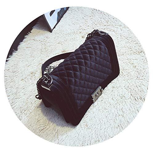 Diamond Lattice Women Bag Designer Handbags Chain Ladies Women Messenger Bag,velvet black