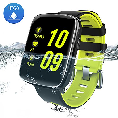 Smart Watch Bluetooth Fitness Watch - Yarrashop Waterproof Touchscreen, Call SMS Reminder, Step Counter, Heart Rate & Sleep Monitor Sport Smartwatch with Replaceable Straps for iOS / Android (Green)