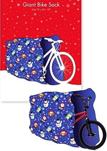Bolsa grande de regalo para bicicleta de Navidad, diseño de Papá Noel, color azul: Amazon.es: Hogar