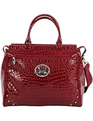Kathy Van Zeeland 20 Croco PVC Drop Bottom Satchel