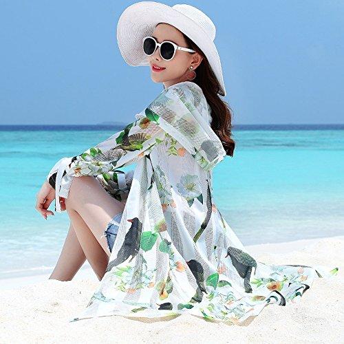QFFL fangshaifu 女性ロングセクションバーディープリントサンプロテクションウェア/サマーフード付きスリムアウトドアビーチサンスクリーン服/ファッションバンデージサンプロテクションショール (サイズ さいず : M)