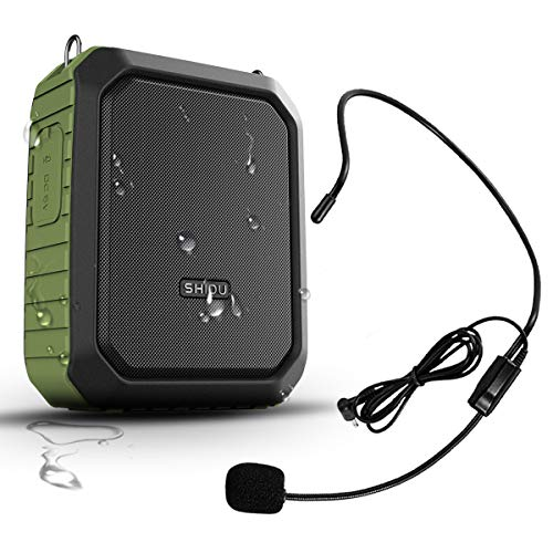 Portable Voice Amplifier with Wired Headset Microphone 18W 4400mAh Rechargeable Waistband Amplifier IPX5 Waterproof Bluetooth Mini Pa Speaker for Teachers Trainers Karaoke or Outdoors
