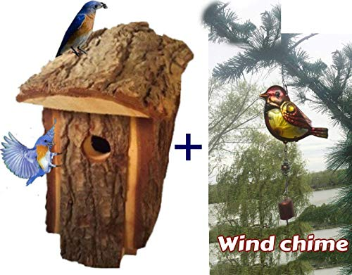 - Bluebird house for Outside Wooden Handcrafted Made of Pine with Bird Chime