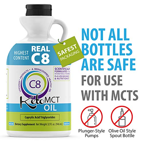 Premium C8 MCT oil Sourced from Coconut Oil, 32 oz, Custom easy pour Bottle, Keto Friendly, Made in USA by PhD Nutrition