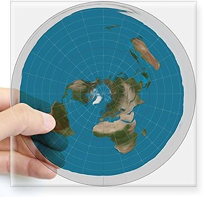 Square Earth Map.Amazon Com Cafepress Flat Earth Sticker Square Bumper Sticker Car