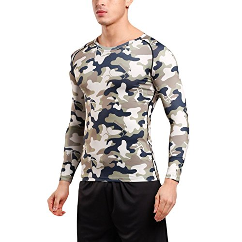 (?ー??)EU アンダーシャツ 長袖 メンズ コンプレッションウェア [UVカット?吸汗速乾] スポーツ ストレッチ シャツ7色 グリーンM