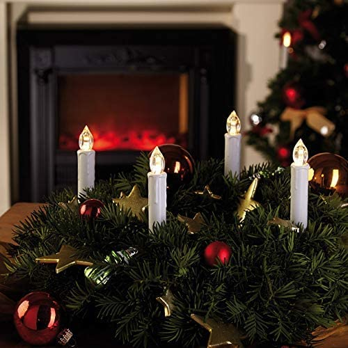 30Pcs Christmas LED Taper Candles with Remote Control, Flickering Flame LED Candles for Christmas Party Birthday Decoration–Warm White