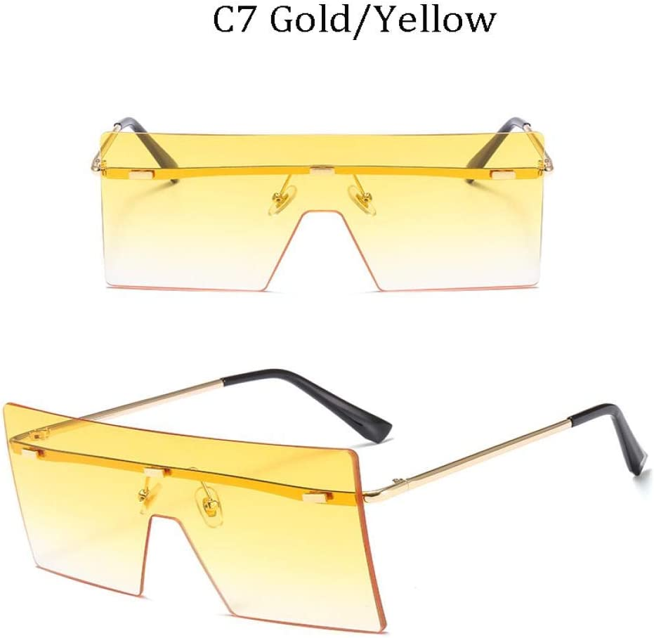 Occhiali da Sole Quadrati Oversize Marroni Donna Occhiali da Sole Vintage retrò Occhiali Senza Montatura di Marca 8587C1