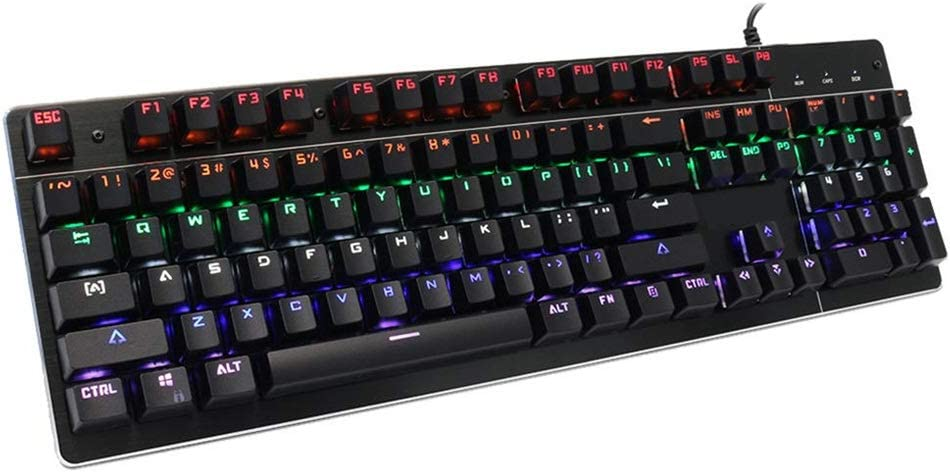 Color : Black, Size : One Size AiKuJia Keyboard USB Wired 104 Keys RGB Backlight Blue Switch Mechanical Gaming Keyboard for PC Laptop for Gaming and Typing