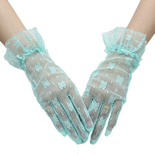 Green Lace Gloves (Telamee Full Fingers Lace Floral Elegant Wedding Bride Evening Party Gloves Mint)