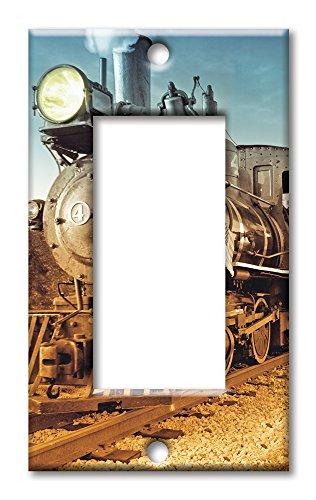 (Art Plates Brand Single Gang Rocker Switch / Wall Plate - Train)