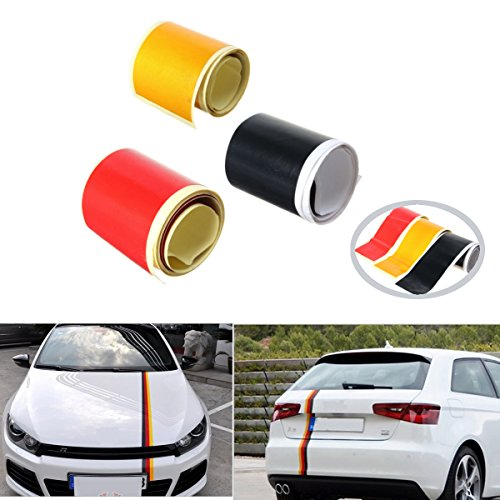 Tools - 3.6M Car PVC Sticker Germany Flag Stripes Decal Self-adhesive Removable