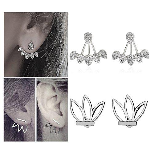 Suyi Fashion Hollow Lotus Flower Earrings Crystal Simple Chic Stud Earrings Set BS (Stainless Flower Steel Earrings)
