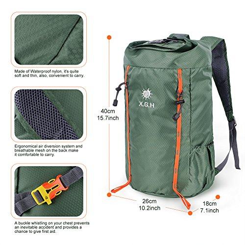 Vbiger 25L Mochila de Escalada Mochila para Uso al Aire Libre Mochilas para Viajar Deportes Ocio Escalada Actividades al Aire Libre Caminar (Verde ejército) Verde ejército