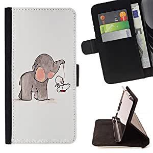 - Elephant Cute Cartoon - - Monedero PU titular de la tarjeta de cr?dito de cuero cubierta de la caja de la bolsa FOR Sony Xperia Z2 D6502 Retro Candy