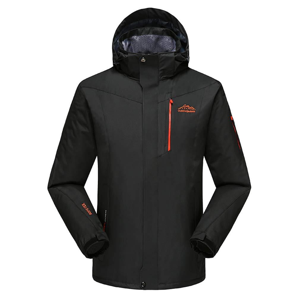 Men's Mountain Waterproof ski Jacket, Wind and rain Jacket, Hiking Outdoor Sports Jacket, Coat 3 in 1,Black,8XL