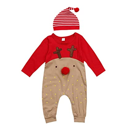 LUOEM Newborn Baby Boys Girls Christmas Long Sleeve Cute Red Nose Cartoon  Reindeer Pajama Jumpsuit Stripe 76dbddf1a79e