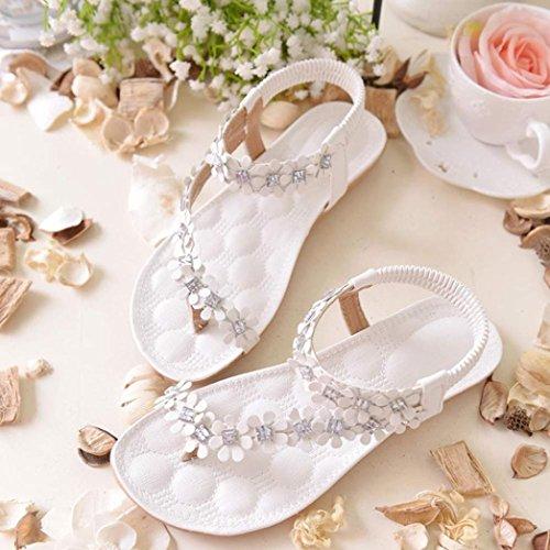 Hunpta Frauen Sommer Böhmen Blume Perlen Flip flop Schuhe Sandalen Weiß