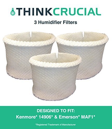 Think Crucial 3 Replacements for Kenmore 14906 EF1 & Emerson MAF1 Humidifier Wick Filter Fits 14410, 14411, 14906, 15412, 29979, 29980, 29981, 29982, 144105, 144106, Compatible With Part # 42-14906