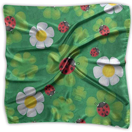 - Square Scarf Lovely Clover Leaf Ladybug Muffler Unisex Handkerchief Tie For Men