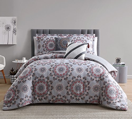 5 Piece Renee Taupe/Coral Reversible Comforter Set Queen