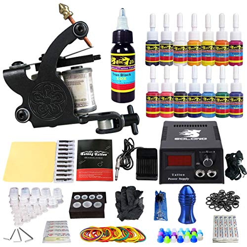 (Solong Tattoo Complete Starter Tattoo Kit 1 Pro Machine Guns 14 Inks Power Supply Foot Pedal Needles Grips Tips TK102)