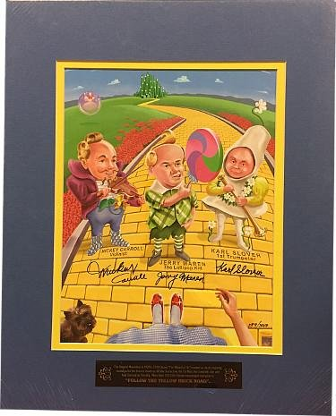 Wizard of Oz Munchkins signed 11x14 Matted Photo (blue)- 3 sig- Mickey Carroll/Jerry Maren/Karl Slover LTD- Beckett Holo #A84655 - Beckett (Wizard Oz Munchkin Pictures)