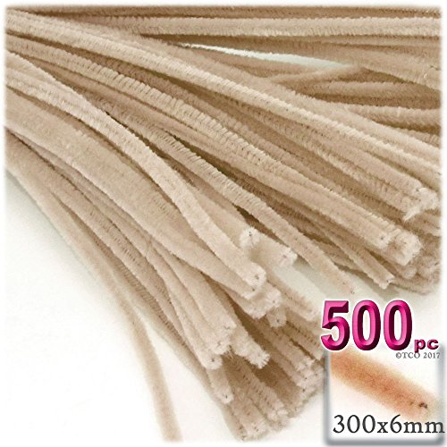 The Crafts Outlet Chenille Stems, Pipe Cleaner, 12-inch (30-cm), 500-pc, Tan