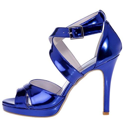 Loslandifen Womens Elegante Sposa Pompe Open Toe Sandali Cinturino Alla Caviglia Tacchi Alti Scarpe Da Sposa Blu-b