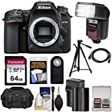 Nikon D7500 Wi-Fi 4K Digital SLR Camera Body with 64GB Card + Battery & Charger + Case + Tripod + Flash + HDMI Cable + Kit