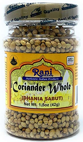 Rani Coriander (Dhania) Seeds Whole, Indian Spice 1.5oz (42g) ~ All Natural | Gluten Free Ingredients | NON-GMO | Vegan | Indian Origin