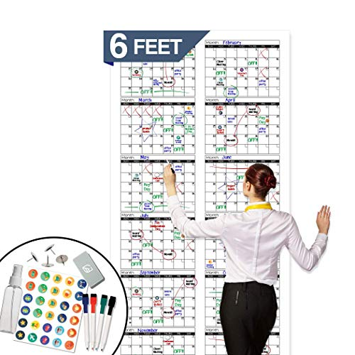 Large Dry Erase Wall Calendar - Premium Giant Reusable Yearly Calendar - Oversized Whiteboard Annual 12 Month UNDATED Planner 2019-2020 - 72x36