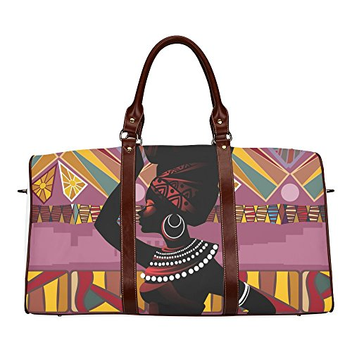 AnnHomeArt African Woman Waterproof fabric Two-sided Printing Large Duffle Sports/Travel Bag
