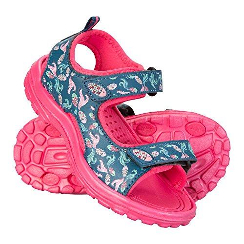 Mountain Warehouse Sand Sandalen Für Mädchen - Kinder-Flipflops Aus Neopren, Robuste Laufsohle, Klettverschluss, Abnehmbarer Fersenriemen - Für Reisen, Strand, Pool Blaugrün