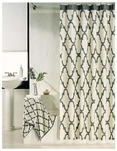 100 percent cotton shower curtain moroccan tile quatrefoil off white gray lattice 72. Black Bedroom Furniture Sets. Home Design Ideas