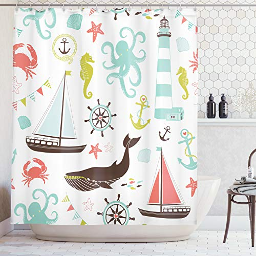 Ambesonne Extra Long Shower Curtain Decor, Sea Creatures Rope Anchor Octopus Scorpion Wheel Helm Crab Marine Lighthouse Seahorse Whale Shark Ocean Decor, 84 Inches, Coral Turquoise